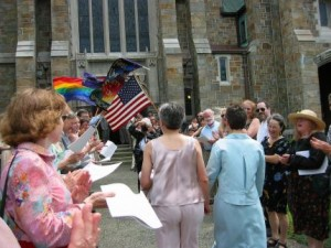 First Unitarian Society in Newton wedding-rainbow